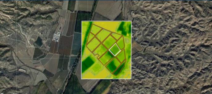 Imágen satélite referida a valores de NDWI. Color verde oscuro corresponden con valores cercanos a 1, amarillo corresponde a valores cercanos a 0.